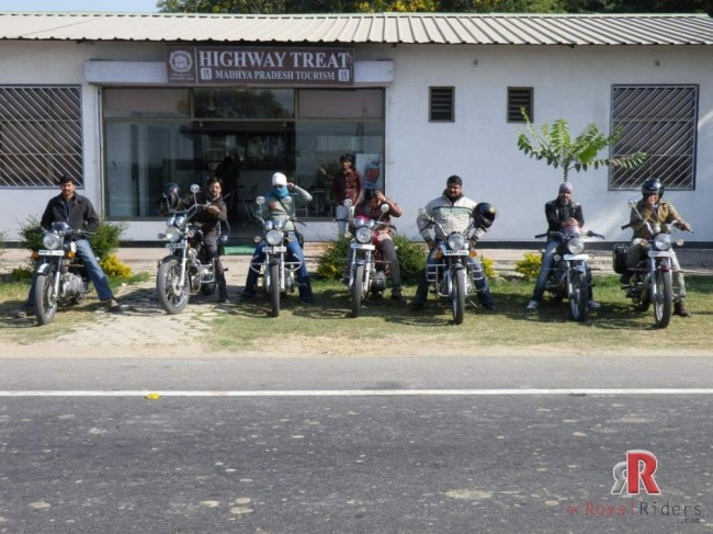 Royal Riders Bikers in front of Highway Treat at Madhya Pradesh, Deori.
