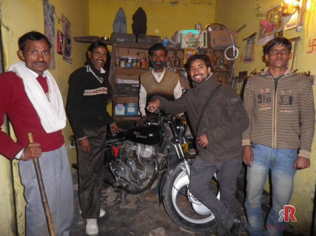 The final nail - Tiwari's bike at workshop.