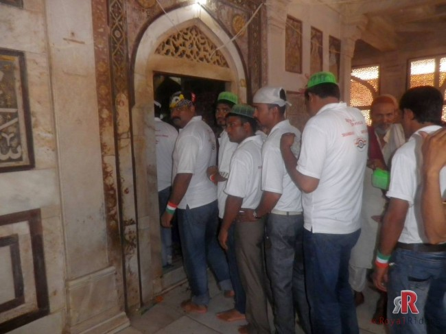 Riders going inside the Saleem Chisti Dargah at Fatehpur Sikri on 15h August Ride 2013