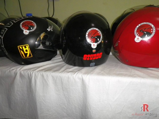 Helmets of Royal Riders Bullet Riders showing off their spirit of Riding.
