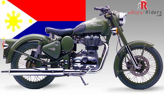 Royal Enfield  Classic Battle Green with flag of Philippines in backdrop.