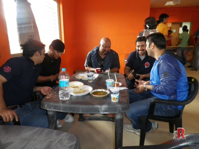 Riders were taking breakfast in small groups, one such group where Royal Riders meets the Gentlemen motorcycle club of Agra members