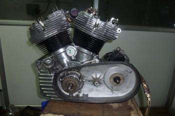 Work in progress on V-Twin engine based on Royal Enfield.