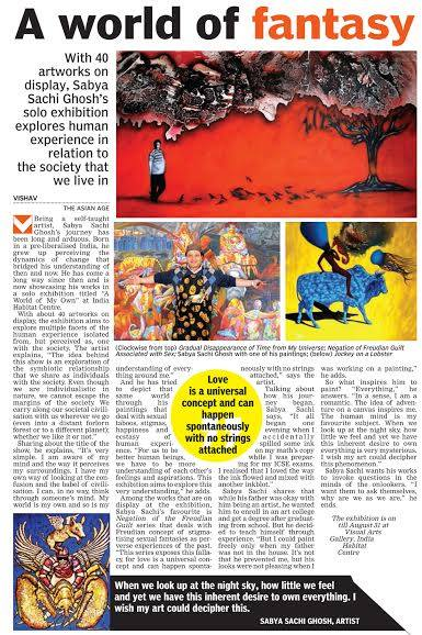 Story about Sabya in press media for his exhibition.