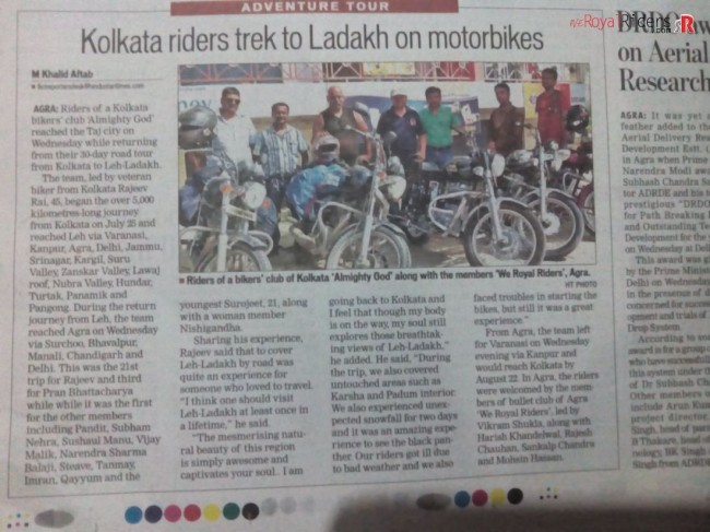 The event was covered Hindustan Times under Adventure Tour.