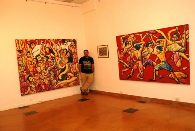 Sabya Sachi Ghosh with his Artwork