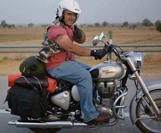 Sabya Riding his Classic.