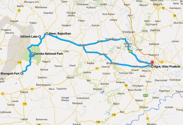 Route to Agra - Sariska Ride by weRoyal Riders.