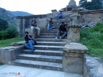 While some of the Rider taking a break...on stairs of  temple inside Bhangarh Fort.