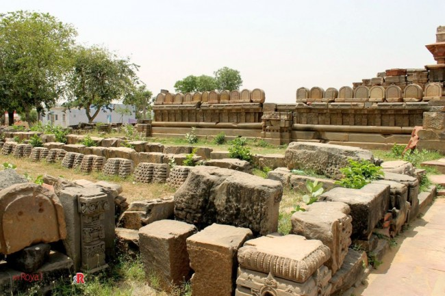 Ruins scattered around temple