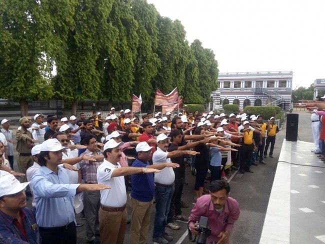 Taking oath to spread awareness about Road Safety and following it.