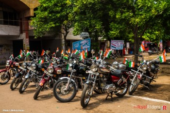 Royal Enfield Bikes at Sanjay Place Agra at Shaheed smarak on Independence day celebrations.