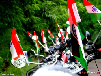 Tricolor Indian Flags mounted on Royal Enfield celebrating Independence Day.