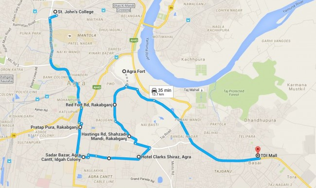 DGR 2015- route plan for Agra  Ride.