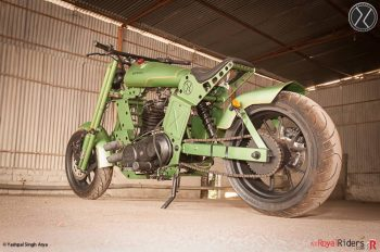 Massive rear 200mm wheels used in this Royal Enfield.