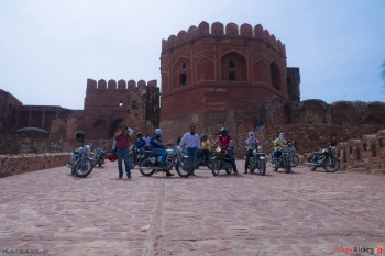 Fun all over - weRR at back of Fatehpur Sikri with their Royal Enfields.