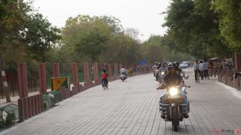 Riding through stone road at Tajamahal Eastern Gate