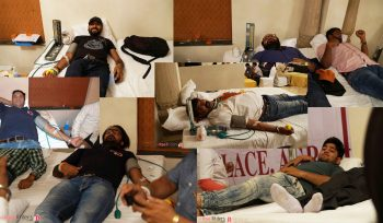 During blood donation process.