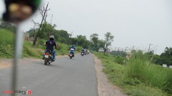 Riding on Royal Enfield Motorcycles towards Chamrola Station Memorial