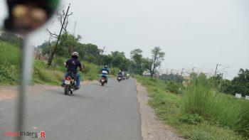 Riding on Royal Enfield Motorcycles towards Chamrola Station Memorial