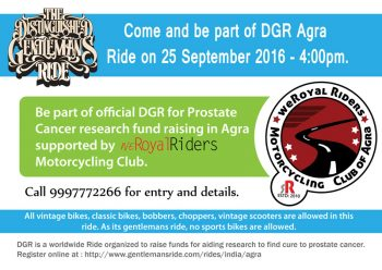 Distinguished Gentlemen's Ride 2016 - Agra for Prostate Cancer Research Fund Raising and Awareness